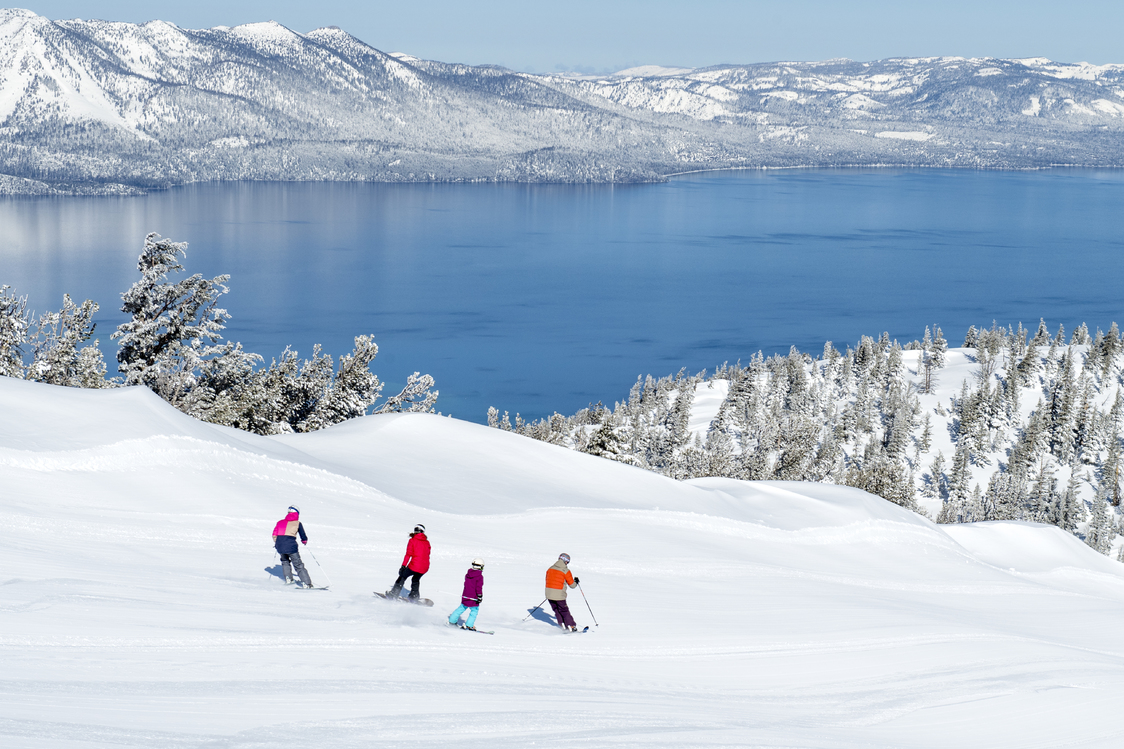 skiers at Heavenly Mountain on a snowy day