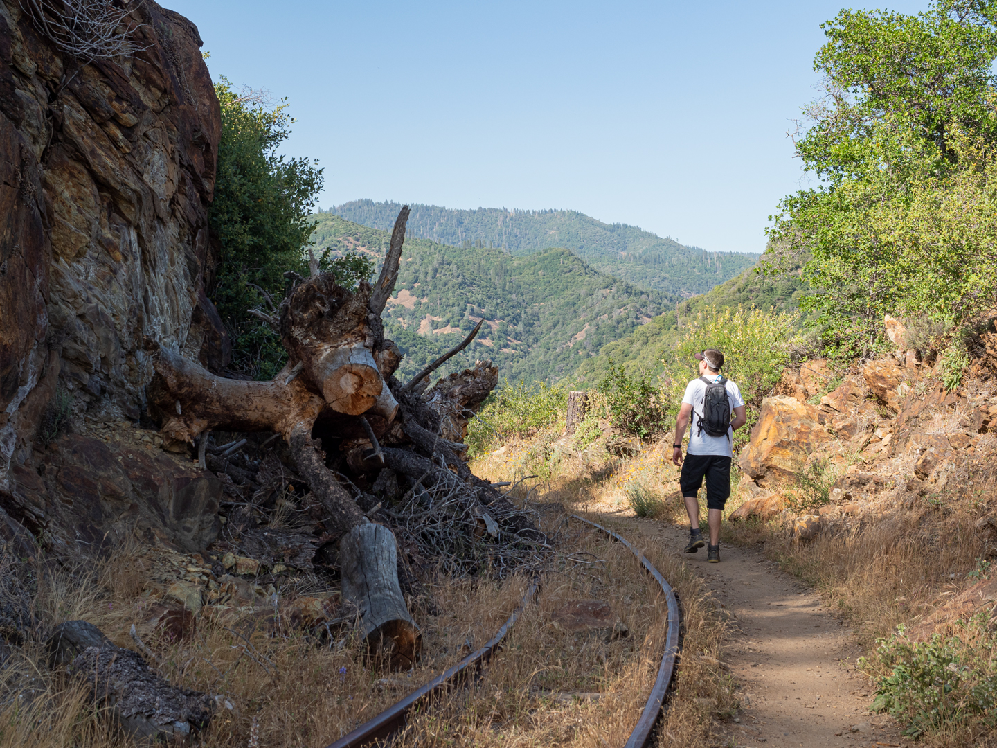 person hiking Sierra Nevada trails - the west side trail just outside of Twain Harte California